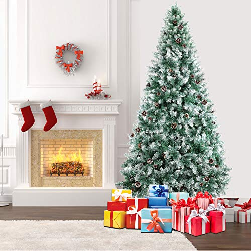 SHareconn 7.5ft Unlit Artificial Hinged Christmas Tree Snow Tree with Pine Cones, 2000 Branch Tips and Metal Stand (Clearance Artificial Trees)