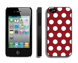 BINGO Funniest Polka Dot Dark red and White iPhone 4 4S Case Black Cover