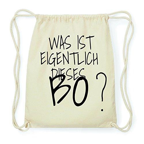 JOllify BO Hipster Turnbeutel Tasche Rucksack aus Baumwolle - Farbe: natur Design: Was ist eigentlich