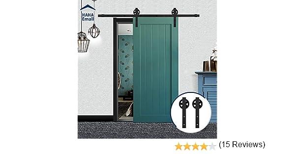 Set de puerta corredera y raíl de Hahaemall, estilo de puerta de granero de una hoja, con ruedas de estilo polea grandes deslizantes de acero de color negro,: Amazon.es: Bricolaje y herramientas