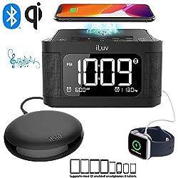 iLuv TimeShaker 6Q Wow Qi-Certified Fast 7.5/10W Wireless Charging Alarm Clock with Vibration Shaker, Dual Alarm, Bluetooth Speakers, FM Radio, Sleep Timer, 10-Level Dimmer, USB Charging Port