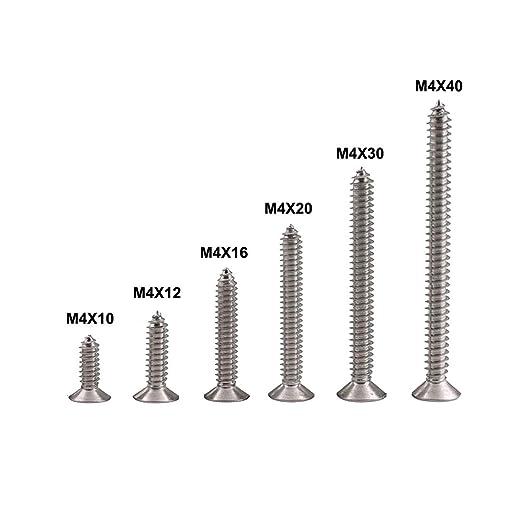200 tornillos de cabeza plana Phillips M4 de acero ...