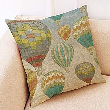 Tianu élégante Taie d'oreiller Motif montgolfière en lin Taie d'oreiller pour la décoration de la maison 45*45cm