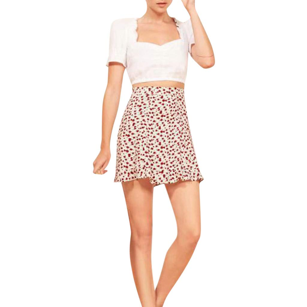 ZOMUSAR Now Women's Printed Bandage Mini Skirt Wrap Short Beach Party Summer Skirts for Ladies White