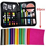 Misscrafts Premium 41 in 1 Sewing Kit + 44pcs 10m*10cm Solid Felt for Home, Compact, Travel and Emergency, Perfect DIY Gift for Beginners Hobby Crafters with Zipper Carrying Case