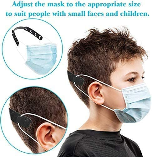 Anti-Tightening Ear Protector Decompression Holder Hook Ear Strap Accessories Ear Grips Extension Mask Buckle Ear Pain Relieved LEMON Black Mask Extender{5 Pack}