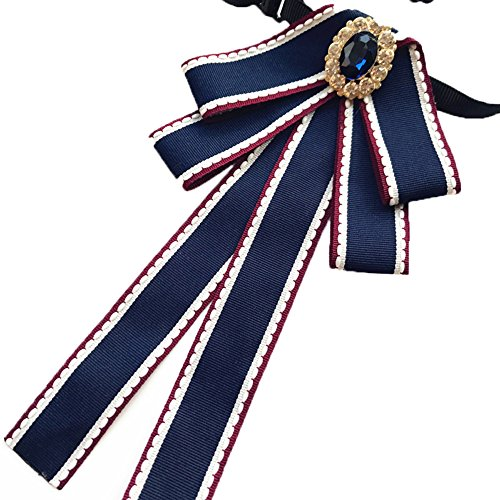 Crystal Ribbon Tie Men/Women Rhinestone Pre Tied Bow Collar Brooch Pin (Blue)