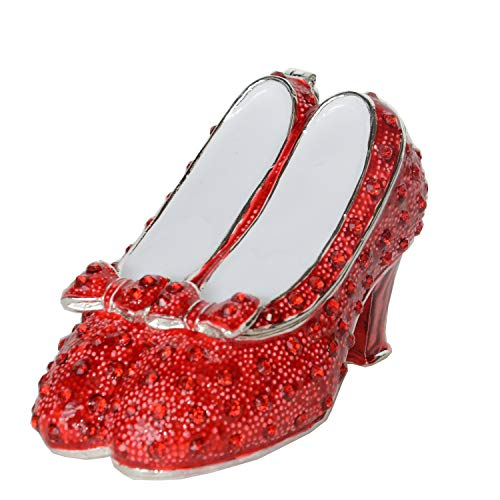 Jiaheyou Ruby Slipper Bejeweled Silver Plated Jewelry Box Faberge Collection Shoe Trinket Box Metal Vintage Decoration ()