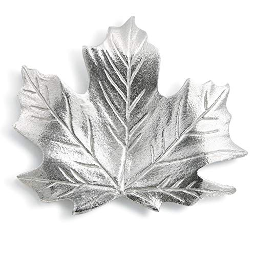 Maple Leaf Nature Silver Toned 6 x 6 Durable Aluminum Metal Spoon Rest ()