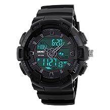 Gosasa Men's Military Sport Digital LED Quartz Watch With Dual Time Chronograph Waterproof Alarm Calendar