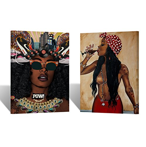 Modern African Women Oil Painting TWO PIECE CANVAS PRINT Decorative Art Wall Decor Artwork Wrapped Wood Stretcher Bars - Ready To Hang %100 Handmade in the USA AfricanSet18 by Smile Art Design