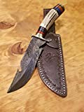Handmade Deer Antler Handle Hunting Knife Damascus Blade Stag Collection With Leather Sheath Premium (A233)