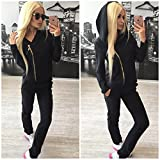 Meolin Women's Women's Long Sleeve Hoodie Pullover + Pants Outfits Set Sweatsuits Set Tracksuits ,black,L
