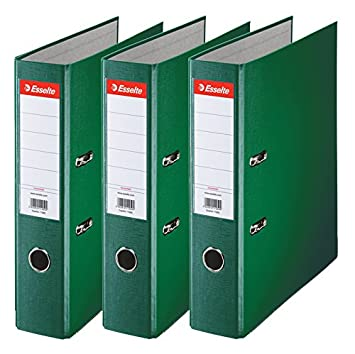 Esselte 624293 - Archivador con anillas (Capacidad 550 hojas, 3 unidades), verde, 75 mm: Amazon.es: Oficina y papelería