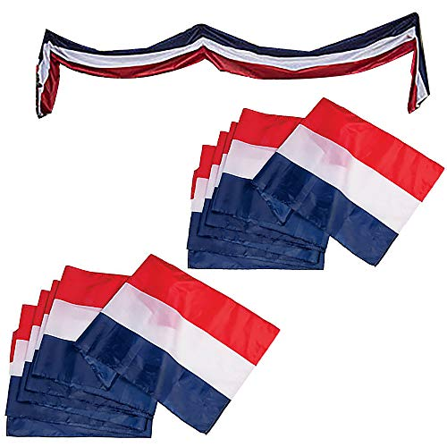 Large Patriotic US Flag Bunting Decorations 4th of July Large Red, White & Blue - 18