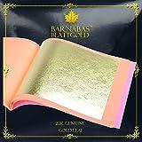 Barnabas Blattgold - Genuine Gold Leaf Sheets, Professional Quality , 22 karat, 25 Sheets, 3-1/8 inches Booklet (Loose Leaf)