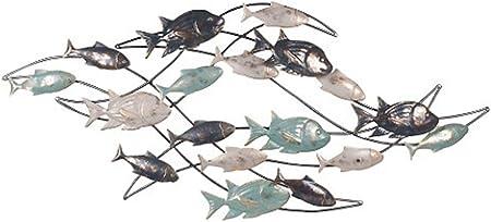 Banc de poissons en m/étal 115 x 45 cm d/écoration murale poissons
