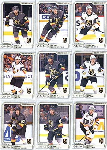 (2018-19 O-Pee-Chee Hockey Vegas Golden Knights Team Set of 19 Cards: Marc-Andre Fleury(#7), Brayden McNabb(#33), Jonathan Marchessault(#53), William Karlsson(#94), David Perron(#109), Reilly Smith(#132), Erik Haula(#164), James Neal(#199), Malcolm Subban(#217), Pierre-Edouard Bellemare(#255), Colin Miller(#283), Nate Schmidt(#291), Alex Tuch(#319), Cody Eakin(#352), Deryk Engelland(#372), Shea Theodore(#395), Tomas Tatar(#414), plus more )