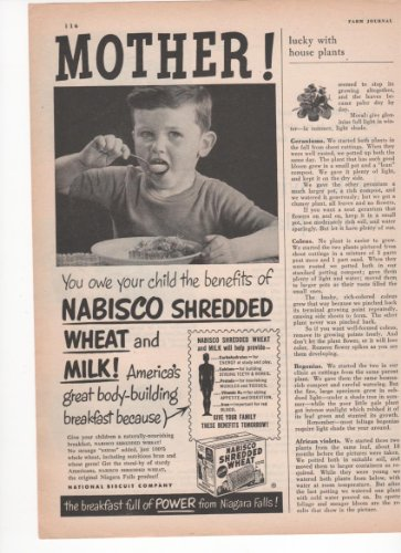 Nabisco Shredded Wheat Breakfast Cereal Children 1950 Farm Antique Advertisement