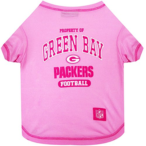 - Pets First Green Bay Packers Pink T-Shirt, X-Small