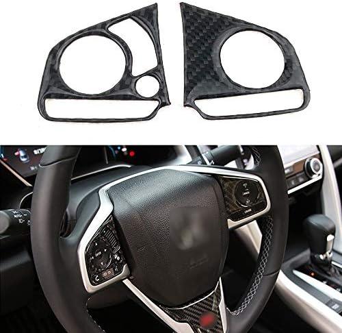 WANCAR Carbon Fiber Steering Wheel Sticker Media Panel Decoration Frame Trims Cover for 10th Gen Honda Civic 2016 2017 2018 2019