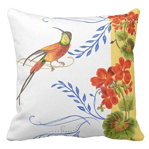 Wecye Watercolor Hummingbird Bird Red Geranium Florwers Outdoor Cotton Canvas Throw Pillow Case Cover 18 x 18 Inches Square Happy New Year Cushion Cover for Sofa Print Two -