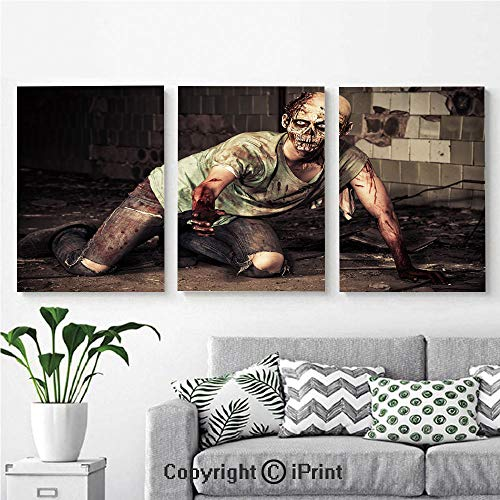 Modern Salon Theme Mural Halloween Scary Dead Man in Old Building with Bloody Head Nightmare Theme Painting Canvas Wall Art for Home Decor 24x36inches 3pcs/Set, Grey Mint Peach -