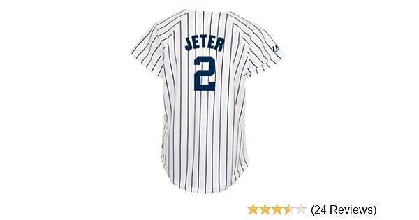 dfaac54b2 Amazon.com   MLB New York Yankees Derek Jeter Women s White Navy Fashion Replica  Jersey
