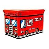 NUOLUX Fire Truck Style Children Folding Kids Storage Box Seat Pop Up Toy Chest (Random Color)