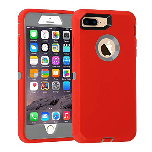 iPhone 7 Plus/8 Plus Case,Heavy Duty Armor 3 in 1 Built-in Screen Protector Rugged Cover Dust-Proof Shockproof Drop-Proof Scratch-Resistant Anti-Slip Shell for Apple iPhone 7+/8+ 5.5 inch,Red/Gray