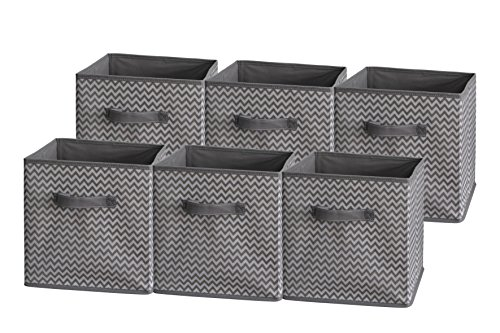 Sodynee Foldable Cloth Storage Cube Basket Bins Organizer Containers Drawers, 6 Pack (Lily Basket)