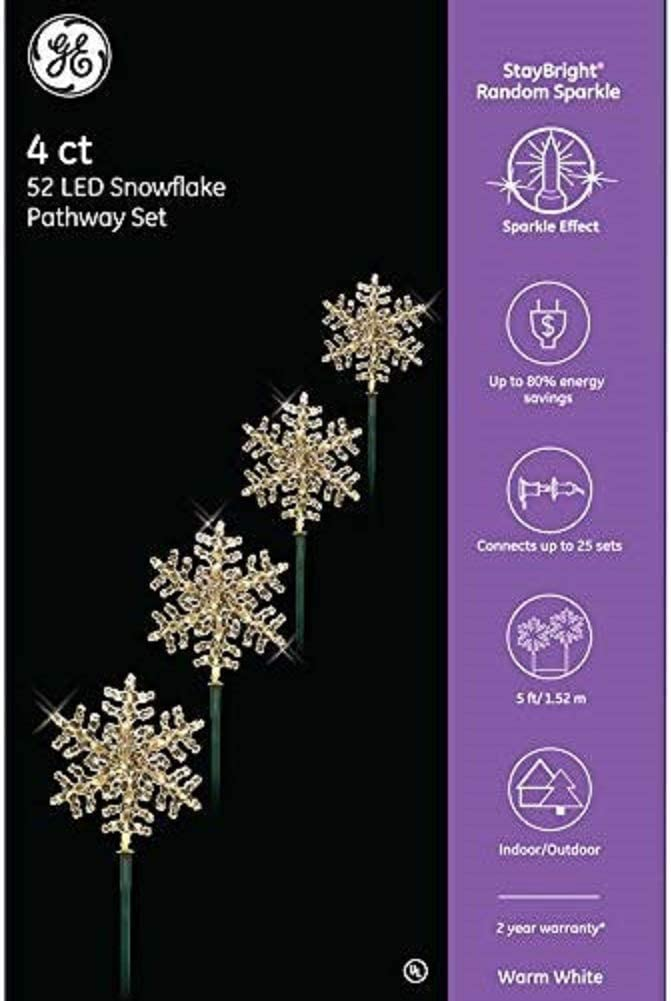 GE StayBright LED 4-Count Random Sparkle Snowflake Pathway Marker Set