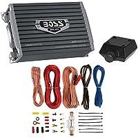 Boss Armor 1200 Watt 2 Channel Amplifier with Level Remote + 8 Gauge Wire Kit