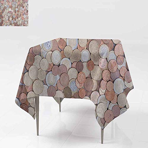 AndyTours Spill-Proof Table Cover,Money,Close Up Photo of Coins European Union Euros Cents on Rustic Wooden Board,Dinner Picnic Table Cloth Home Decoration,60x60 Inch Bronze Silver Yellow