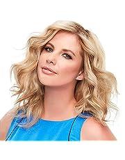 14 '' Doğal Yumuşak Kısa Dalgalı Sarışın Peruk Saç Uzantıları Sentetik Elyaf Saç Peruk Yüksek Isıya Dayanıklı Parti Cosplay(Blonde)-Sazoley -Sazoley