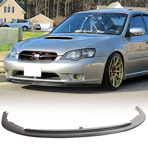 Front Bumper Lip Fits 2005-2007 Subaru Legacy | STI Style Black PU Front Lip Finisher Under Chin Spoiler Add On by IKON MOTORSPORTS | 2006