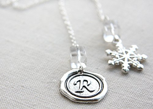 Silver Initial Letter Bookmark Book Decor Personalized Custom Unique Wax Seal Letter Snowflake Gift for Bridesmaids Mother Wife Daughter Sister Girlfriend Reader Handmade and Crafted by (Unique Personalized Bookmarks)