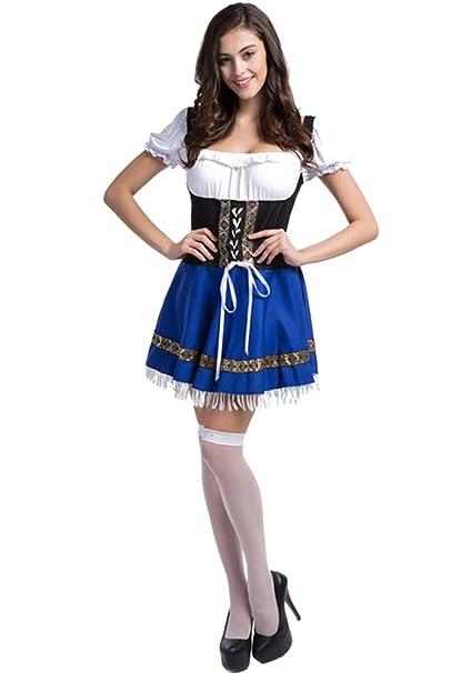 XFentech Vestido de Dirndl para Mujeres gordas,Traje alemán de Oktoberfest, Traje de mucama