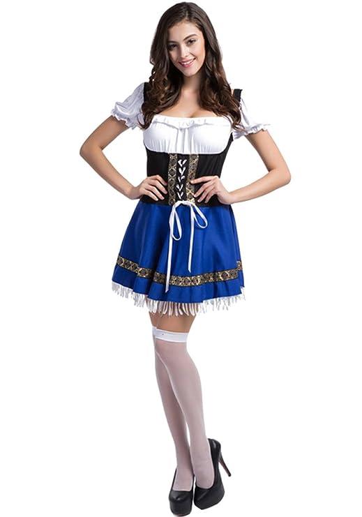 XFentech Vestido de Dirndl para Mujeres gordas, Traje Alemán de Oktoberfest, Traje de mucama, Traje de Cosplay de Halloween, Falda de Dirndl: Amazon.es: ...