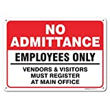 No Admittance Employees Only Sign, Large 10 X 14