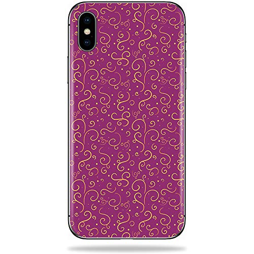 MightySkins Skin Compatible with Apple iPhone Xs Max - Magenta Swirls | Protective, Durable, and Unique Vinyl Decal wrap Cover | Easy to Apply, Remove, and Change Styles | Made in The USA (Floral Swirls Iphone)