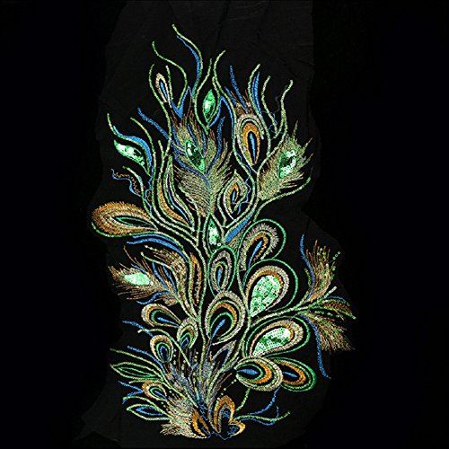 cici store DIY Craft Embroidered Sequins Peacock Cloth Feather Applique Sew Trim 23.62
