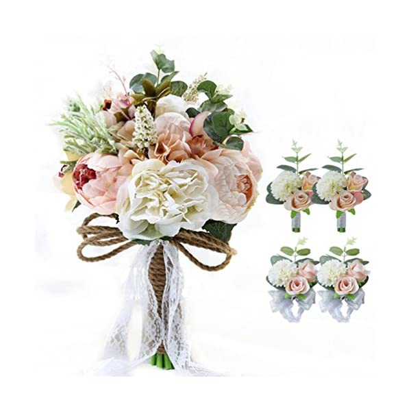 MerryJuly 5pcs Wedding Bouquet Kit – Artificial Roses Peony Lily Bridal Flowers Bouquets Wrist Corsage Boutonniere Brooch Pin Set (Pink/Ivory)