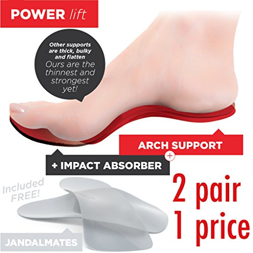 Travel Feet Power Lift Full Length Insole Pad & Arch Support Orthotic Insert Attached w/Bonus Jandalmate