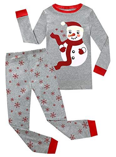 Kids Pajamas Hop Boy Girl Snowman Pajamas Cotton PJ Childrens Christmas Pyjama Sleepwears (Grey,6T)