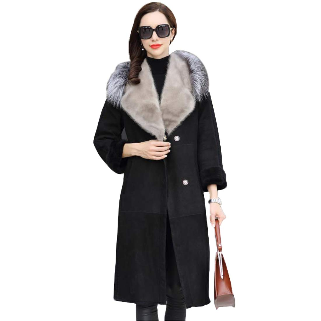 Black Long Real Sheepskin Fur Trench Coats for Women with Luxury Fox and Mink Fur Collar