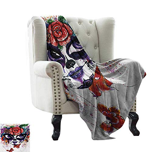 Anyangeight Sugar Skull, Throw Blanket,Watercolor Painting Style Girl Face with Make Up and Floral Crown Big Eyes 50