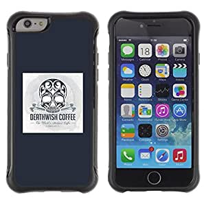 Suave TPU Caso Carcasa de Caucho Funda para Apple Iphone 6 / Black Coffee Death Skull Poster Blue / STRONG