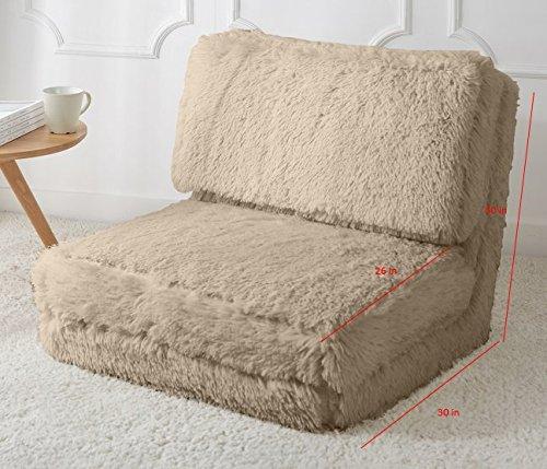 Urban Shop NK656730 Long Hair Convertible Flip Chair Adult Taupe ()