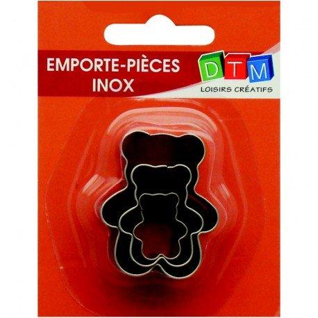 3Stück Minis Ausstechformen Bärchen aus Edelstahl in Lebensmittelqualität, Größen der Teddy Bear 2,3,4cm 4cm Graine créative